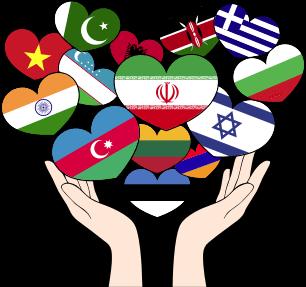 Bandeiras de idioma em formas de coração