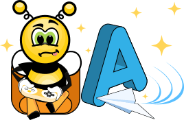Bee learning alphabet through games